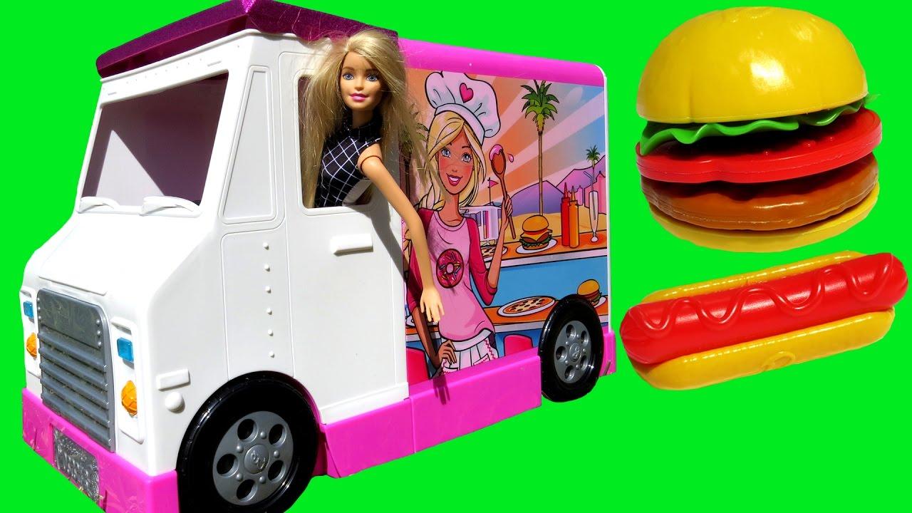 FOOD Truck ! ELSA & ANNA toddlers & Barbie - KETCHUP everywhere - Hotdogs Burgers Pizza Sandwich